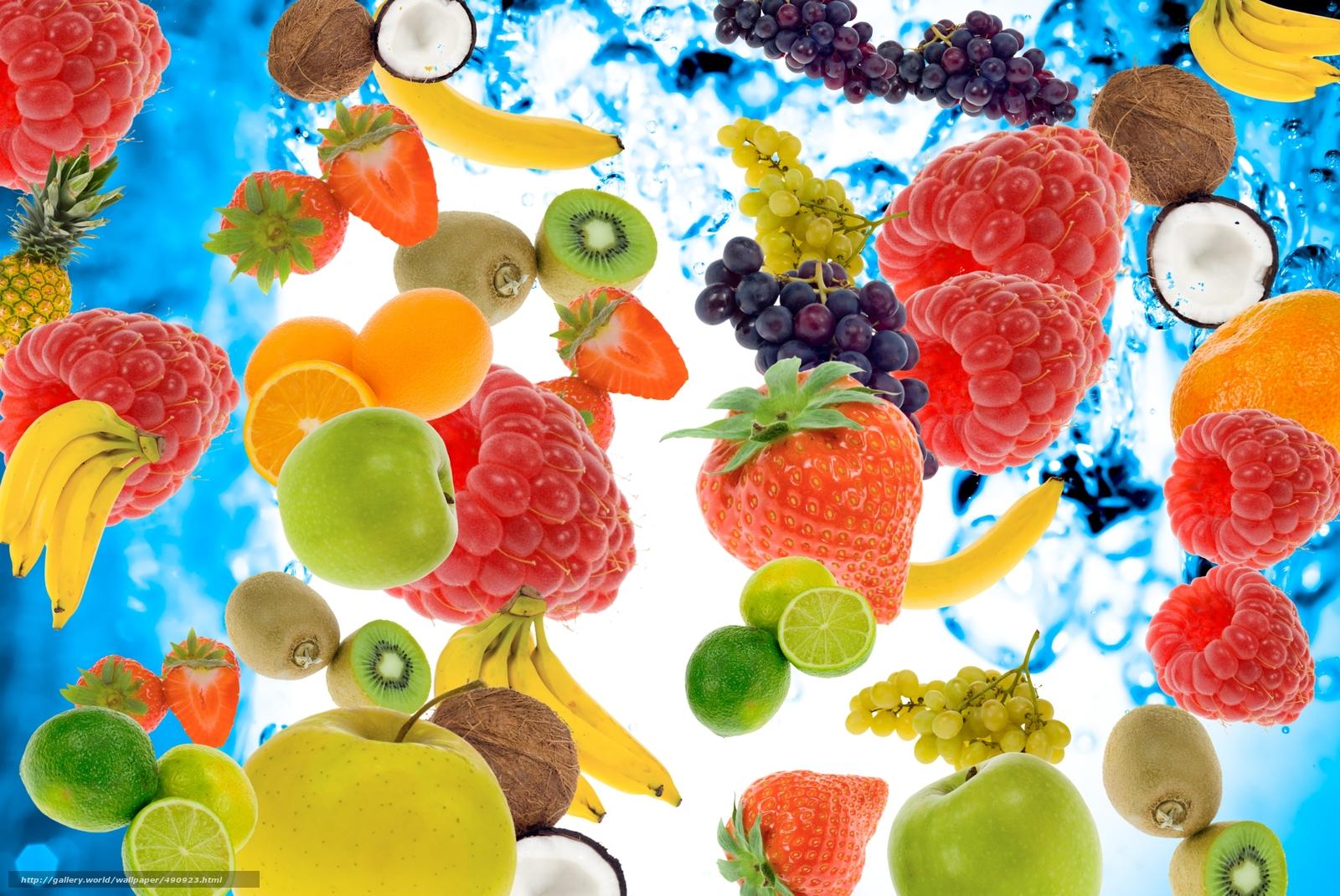 Download wallpaper Berries,  fruit,  raspberry,  bananas free desktop wallpaper in the resolution 3872x2592 — picture №490923