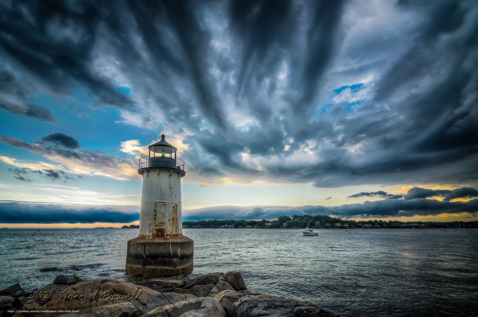 Download wallpaper sea,  lighthouse,  clouds,  landscape free desktop wallpaper in the resolution 2000x1325 — picture №491680
