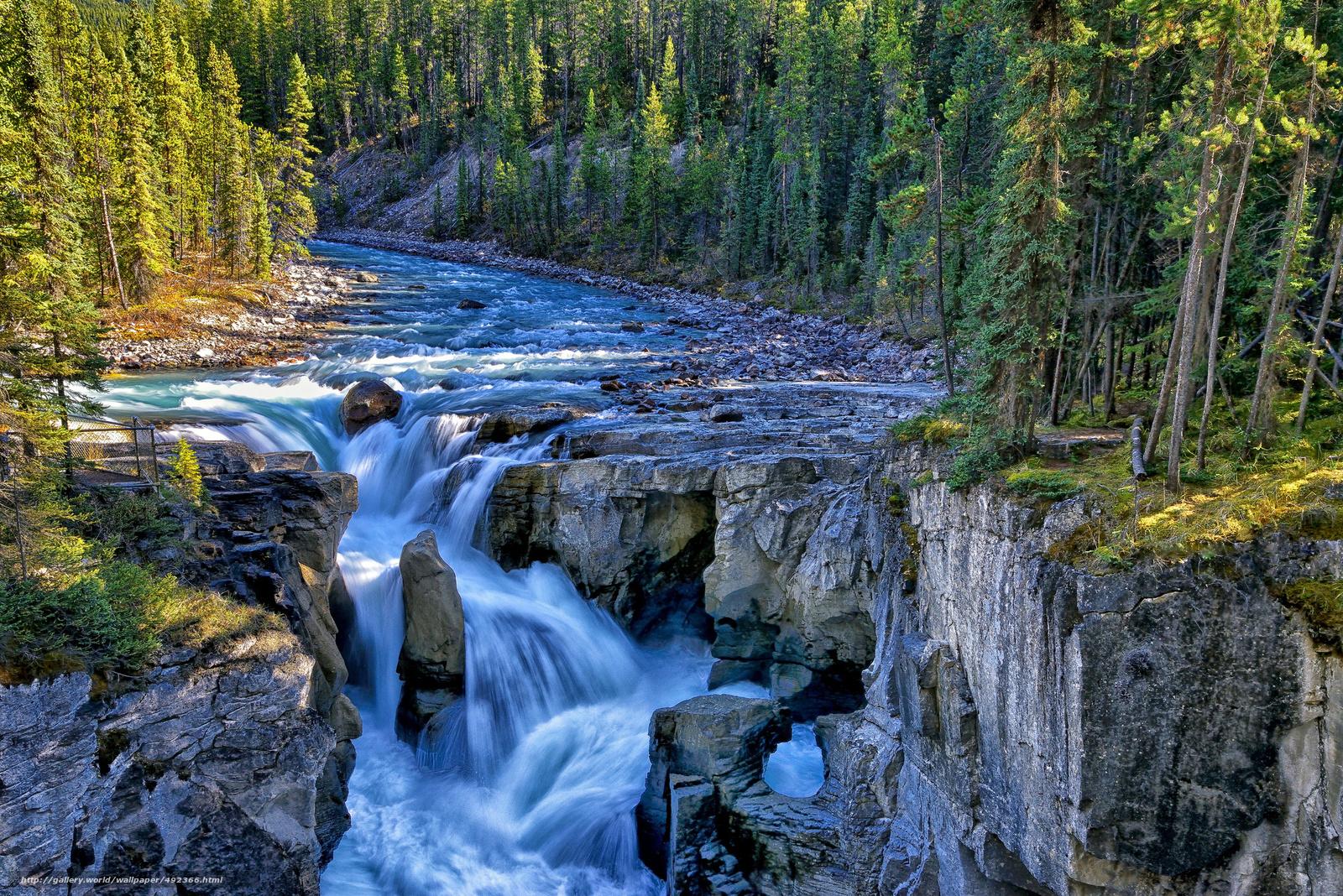 Скачать обои sunwapta falls,  sunwapta river,  jasper national park,  canada бесплатно для рабочего стола в разрешении 2048x1367 — картинка №492366