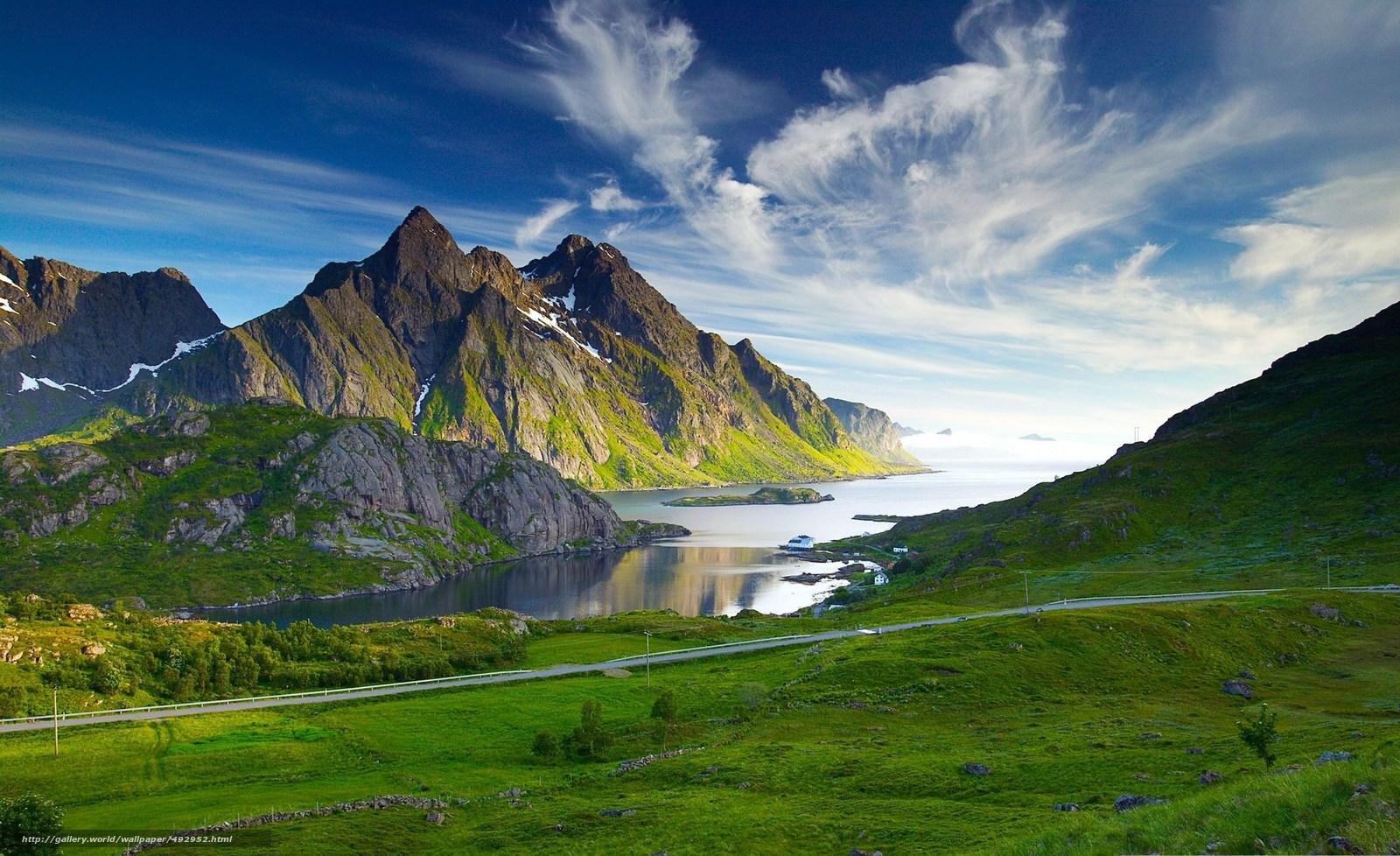 Скачать обои горы,  дорога,  озеро,  пейзаж бесплатно для рабочего стола в разрешении 2560x1565 — картинка №492952
