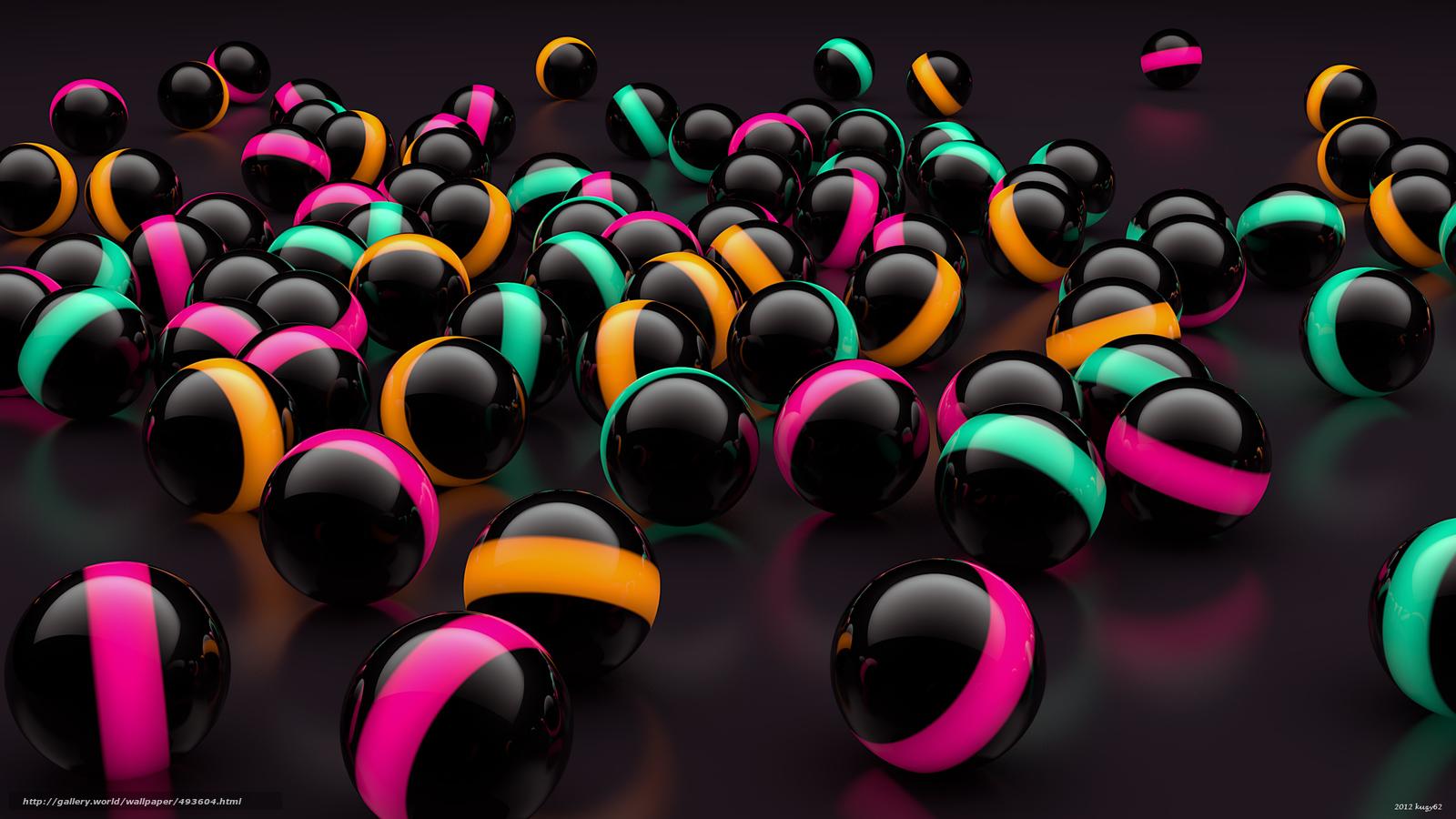 Скачать обои digital art,  3d,  шары бесплатно для рабочего стола в разрешении 2560x1440 — картинка №493604