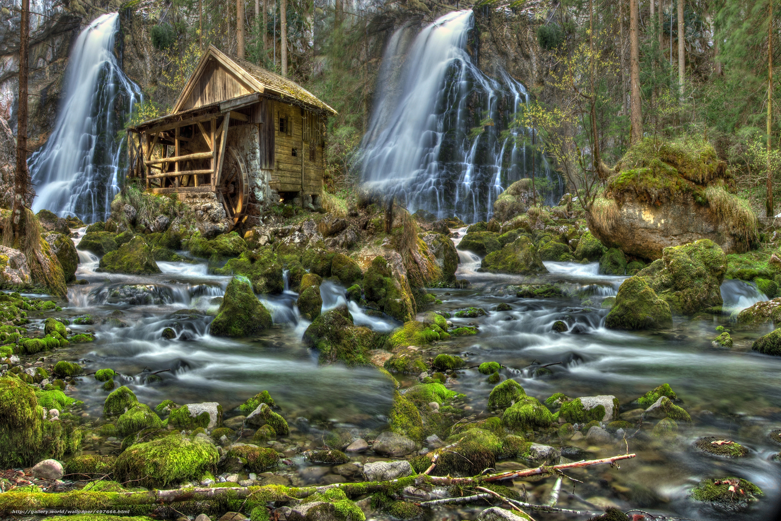 Download wallpaper river,  forest,  waterfalls,  water mill free desktop wallpaper in the resolution 3647x2431 — picture №497666