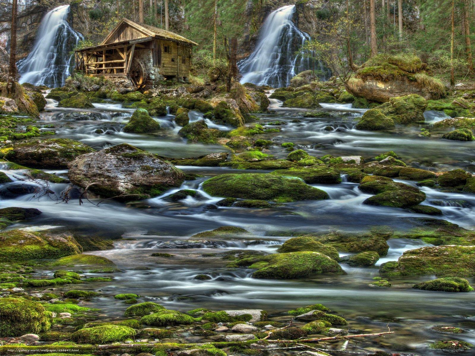 Download wallpaper waterfalls,  river,  mill,  stones free desktop wallpaper in the resolution 7296x5466 — picture №498647