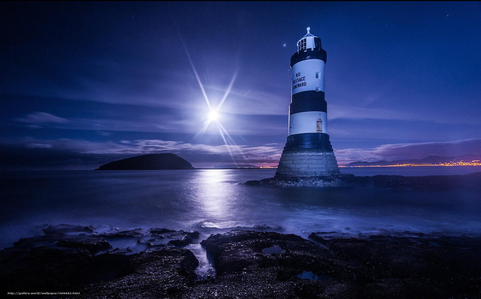 Scaricare Gli Sfondi Mare Notte Luna Faro Sfondi Gratis Per La