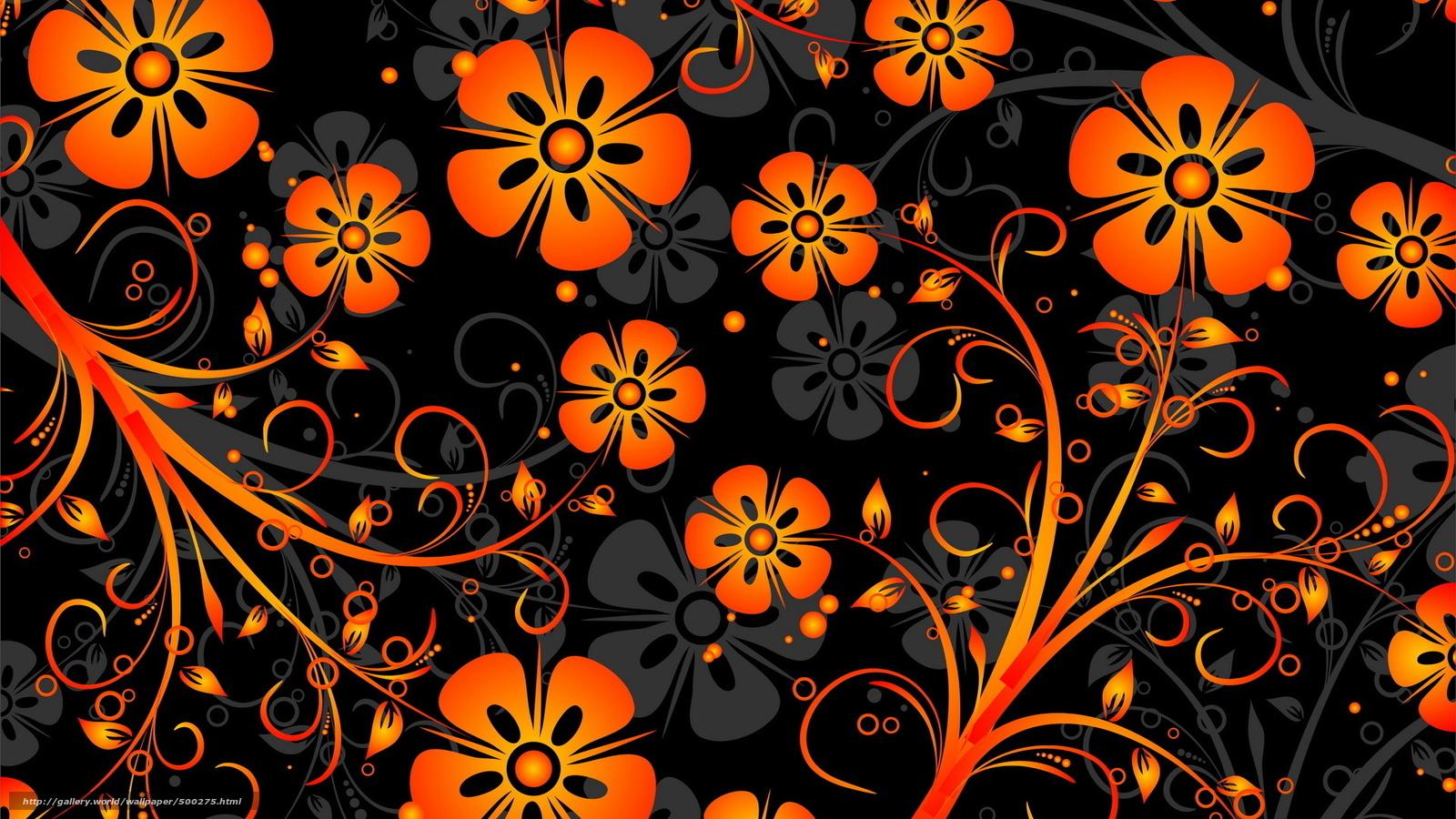 Download Hintergrund Orange Blten Muster Hintergrund