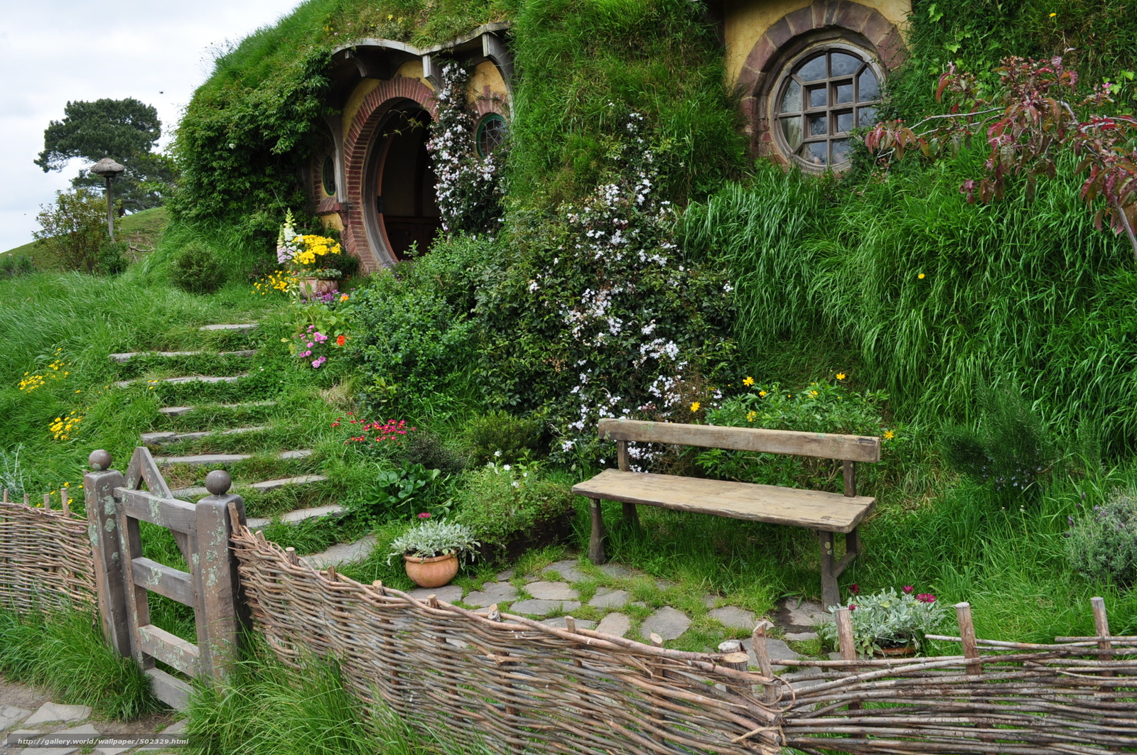 Download wallpaper new zealand hobbit house landscape for New house wallpaper