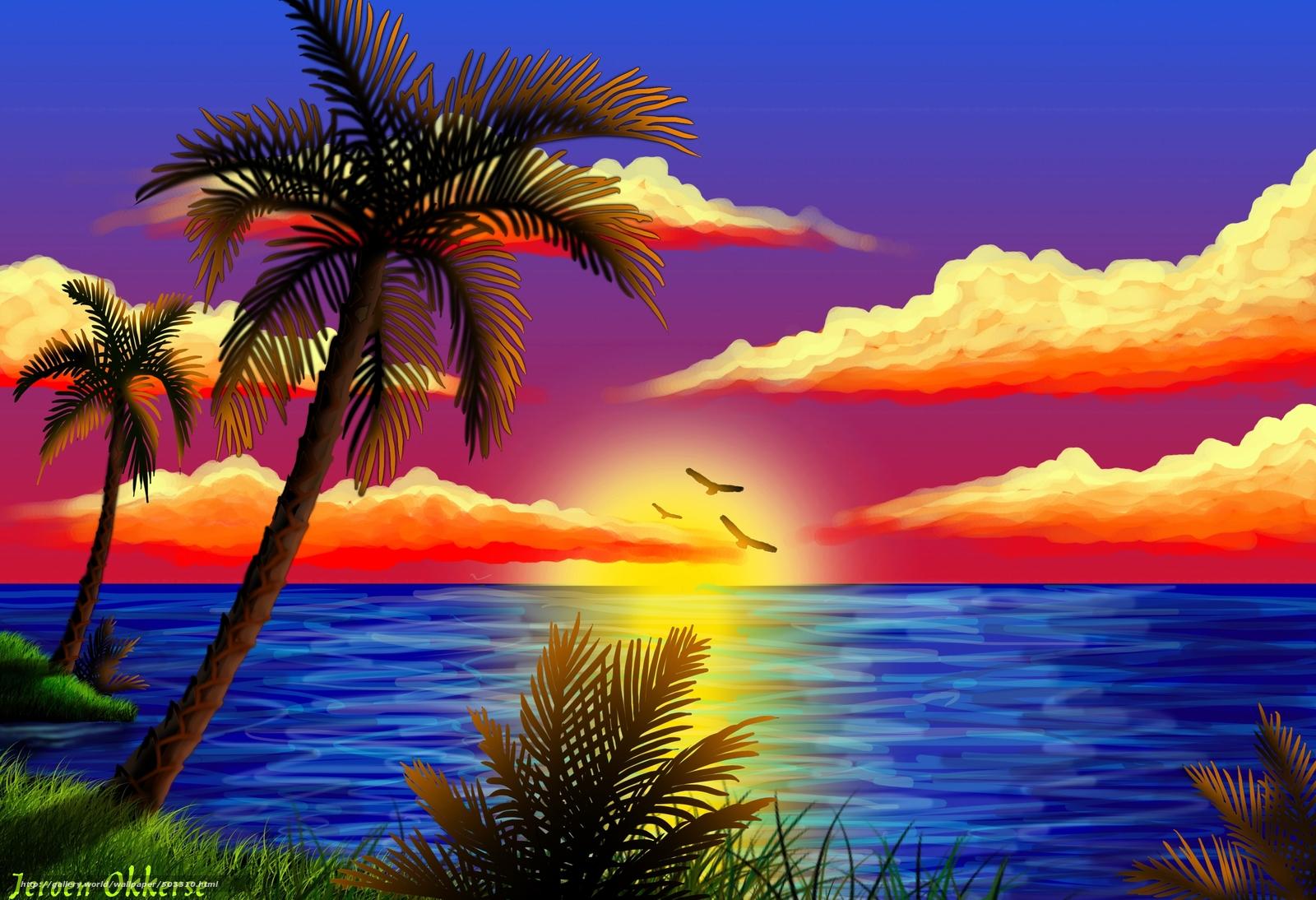Scaricare gli sfondi tramonto mare palma sfondi gratis for Sfondi desktop tramonti mare