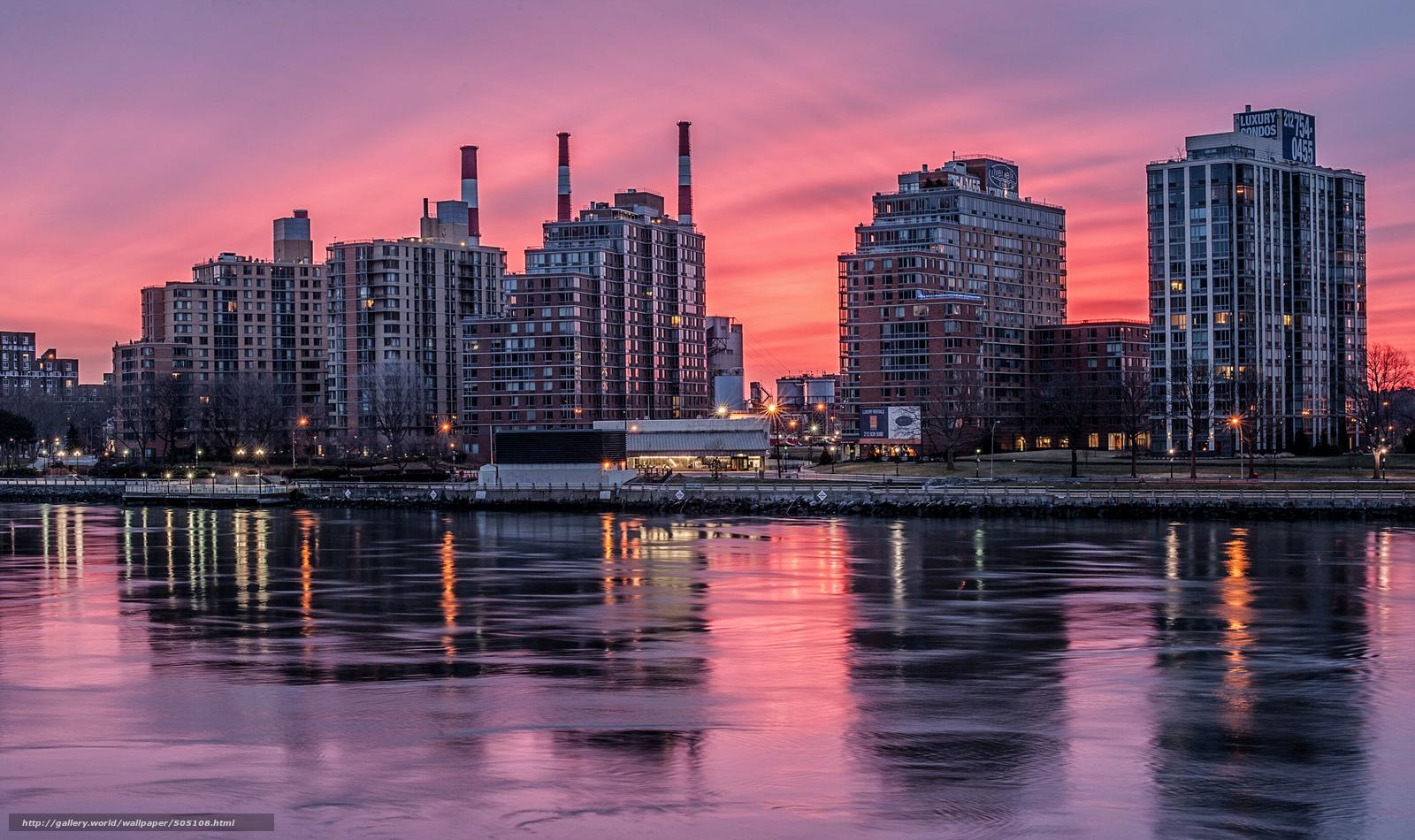 scaricare gli sfondi new york inverno ghiaccio tramonto