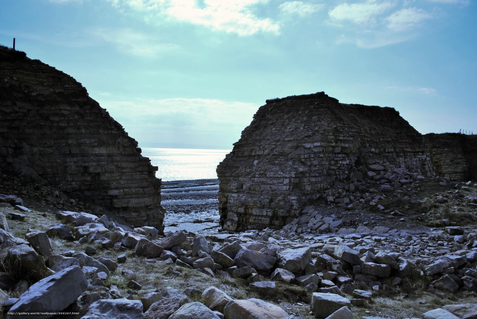 Скачать обои руины,  камни,  море бесплатно для рабочего стола в разрешении 3872x2592 — картинка №505207