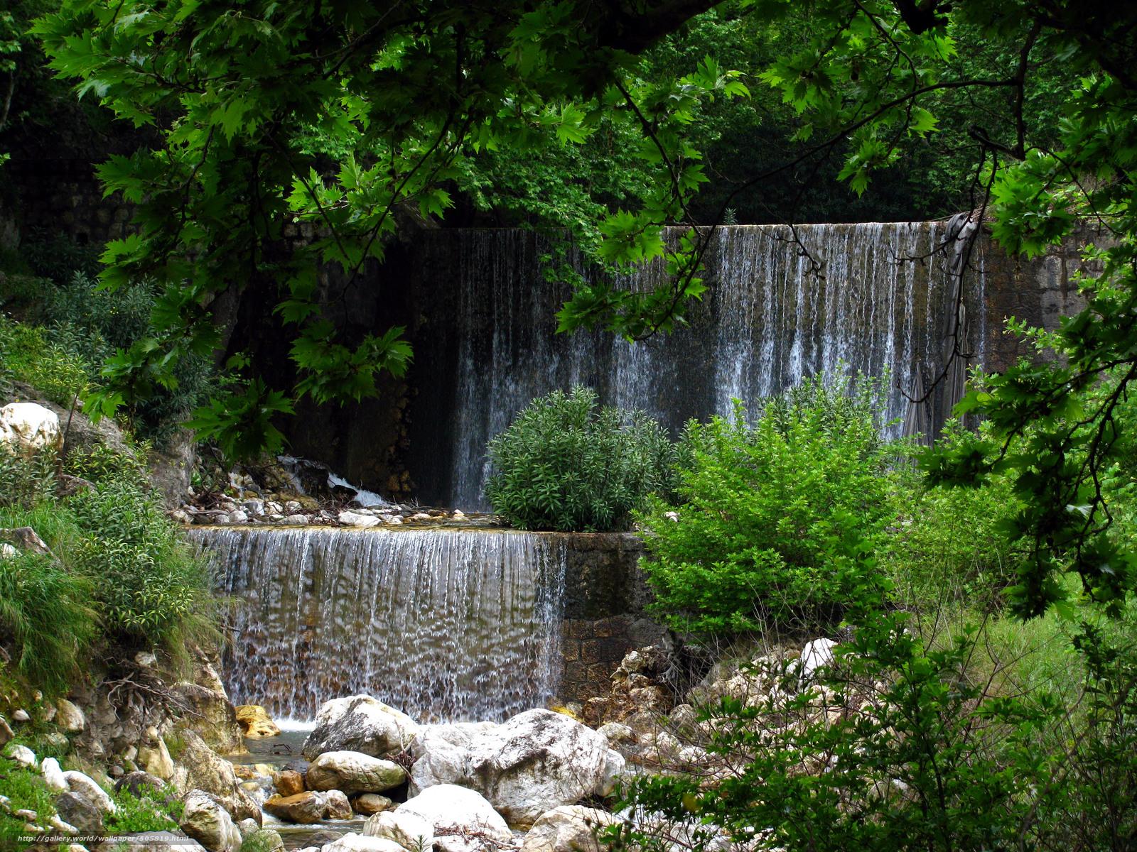 Скачать обои деревья,  речка,  водопады бесплатно для рабочего стола в разрешении 3456x2592 — картинка №505819