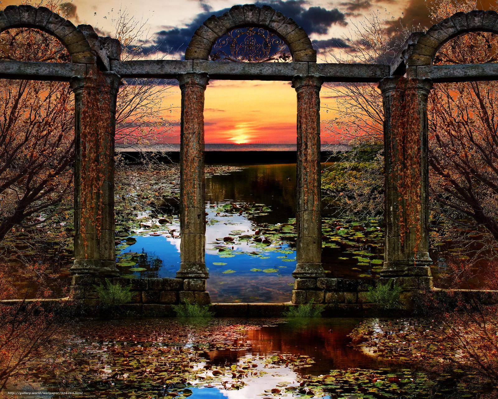 Descargar gratis puesta del sol,  lago,  columna Fondos de escritorio en la resolucin 2500x2000 — imagen №506265