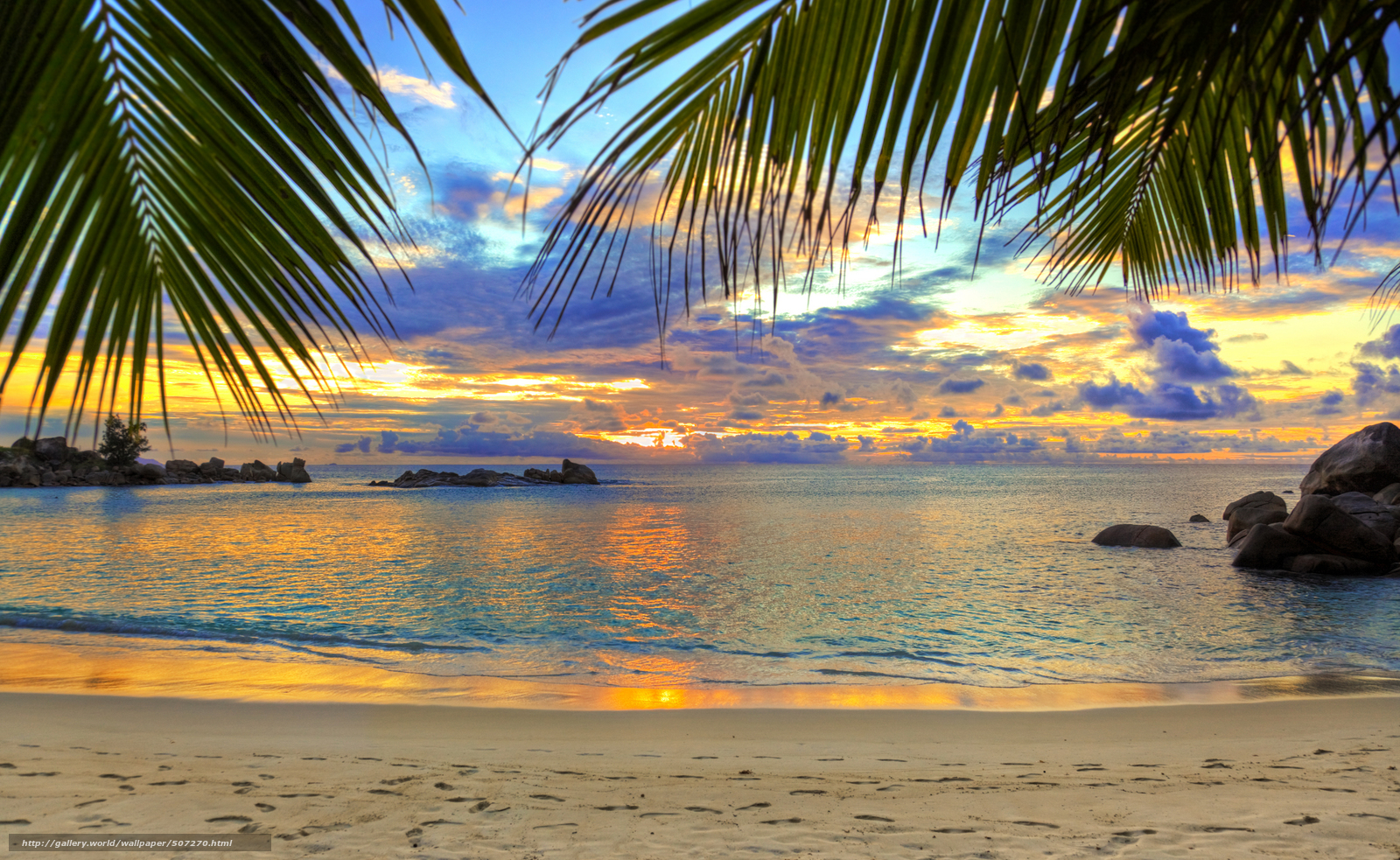 Beautiful beaches in the world at sunset