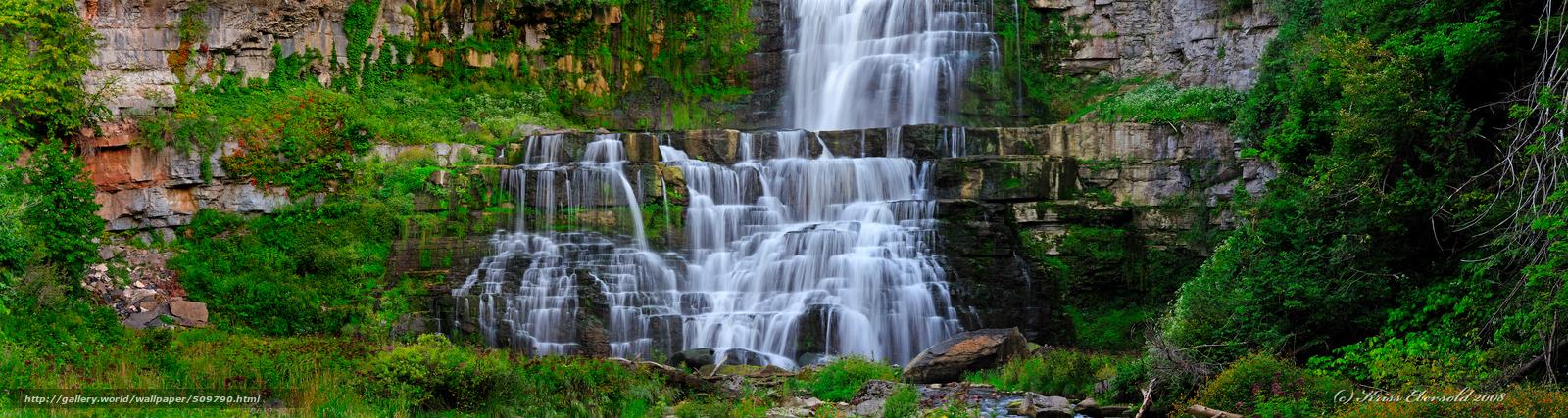 Скачать обои водопад,  поток,  скалы,  пейзаж бесплатно для рабочего стола в разрешении 4500x1200 — картинка №509790