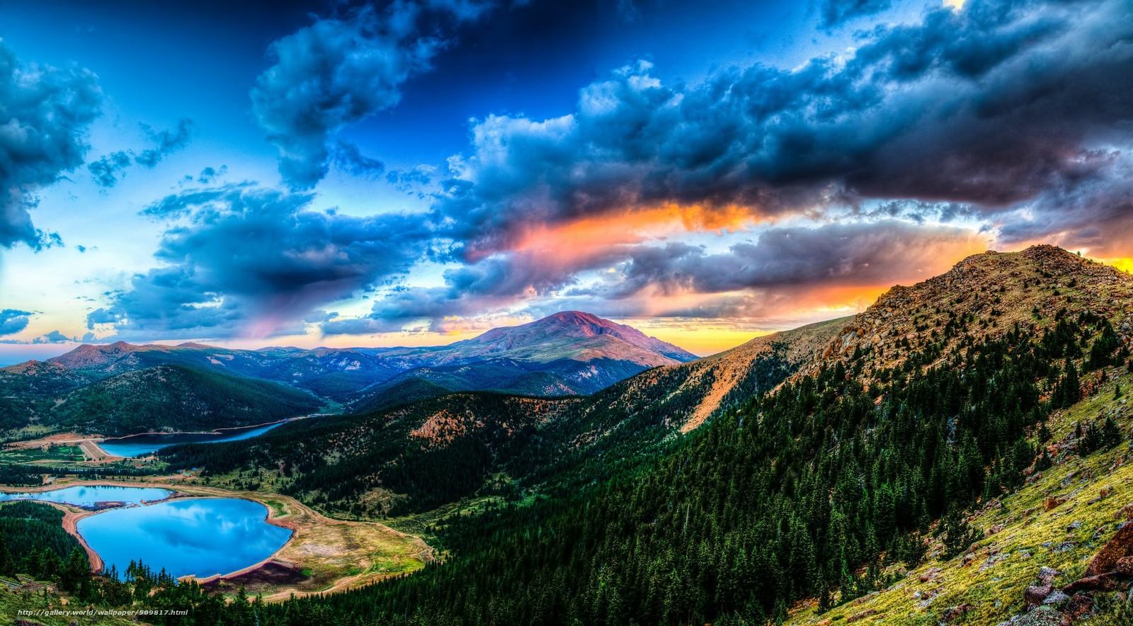 Download Hintergrund Sonnenuntergang,  Gebirge,  See,  Landschaft Freie desktop Tapeten in der Auflosung 2048x1132 — bild №509817