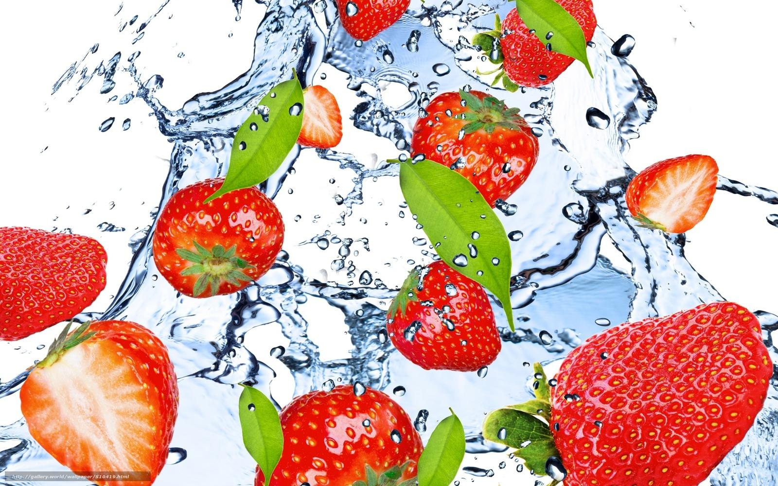 scaricare gli sfondi fragola,  Rosso,  acqua,  gocce Sfondi gratis per la risoluzione del desktop 2560x1600 — immagine №510419