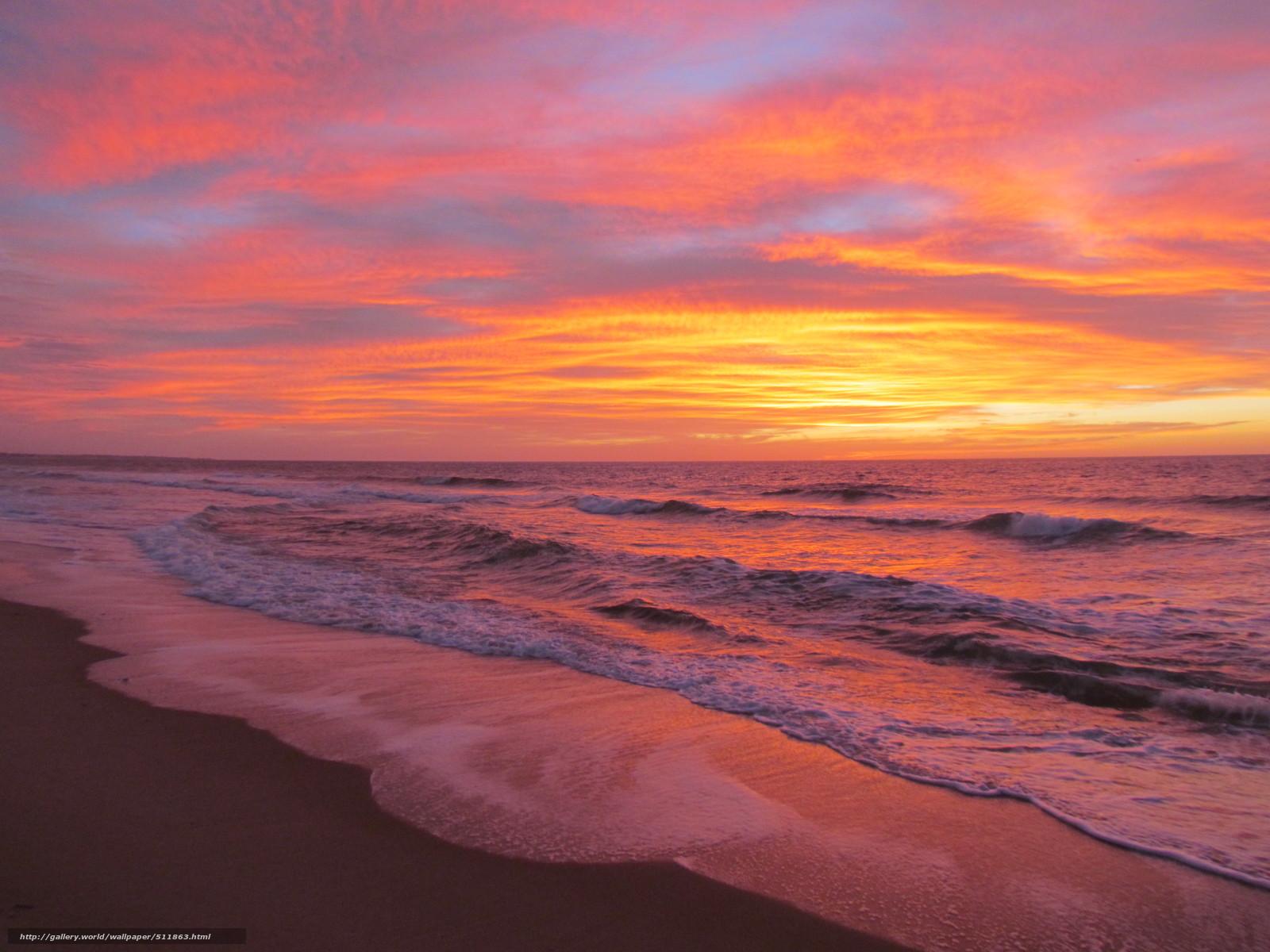 Tlcharger fond d 39 ecran plage coucher du soleil flots - Fond ecran coucher de soleil sur la mer ...