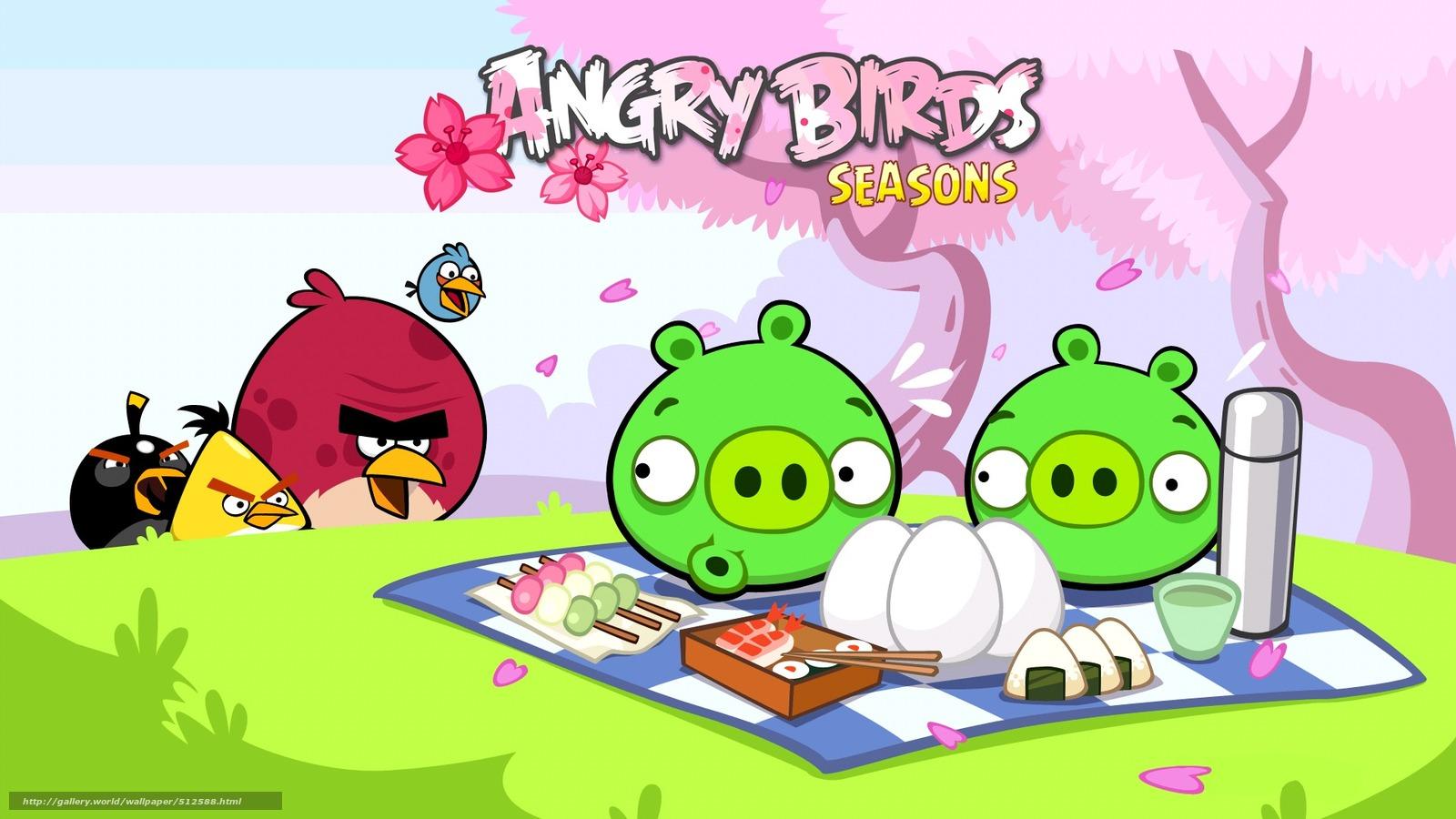 scaricare gli sfondi Uccelli,  Maiale,  picnic,  Angry Birds Sfondi gratis per la risoluzione del desktop 1920x1080 — immagine №512588