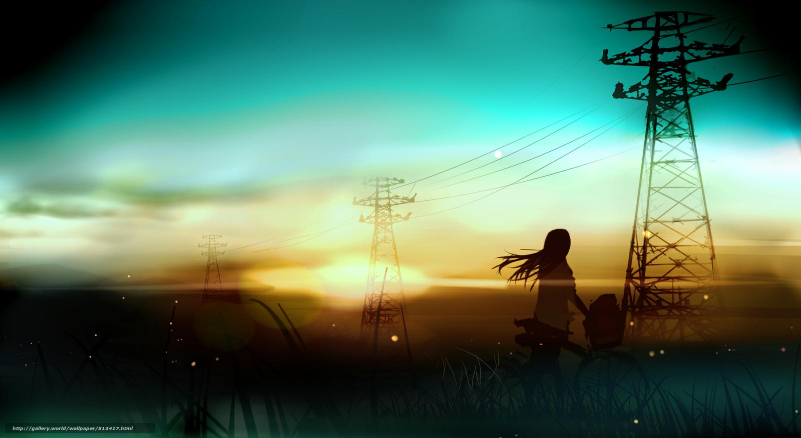Download wallpaper Art,  sunset,  Wire,  landscape free desktop wallpaper in the resolution 3541x1938 — picture №513417