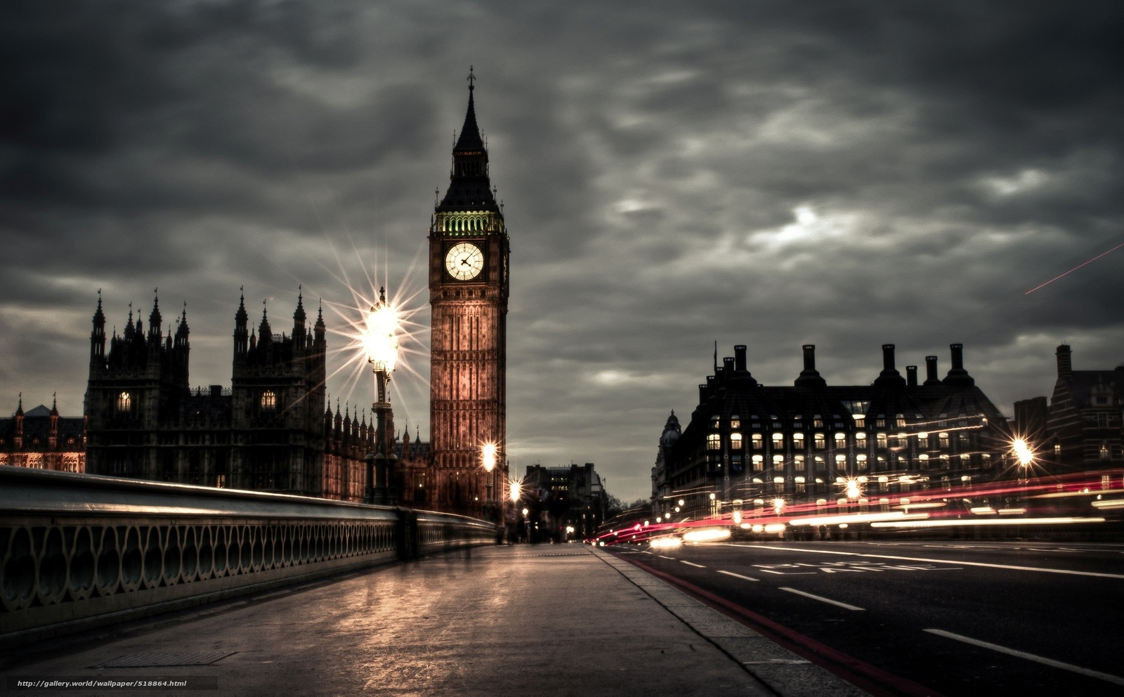 Download wallpaper Palace of Westminster,  Big Ben,  Cloudy,  evening free desktop wallpaper in the resolution 2048x1270 — picture №518864