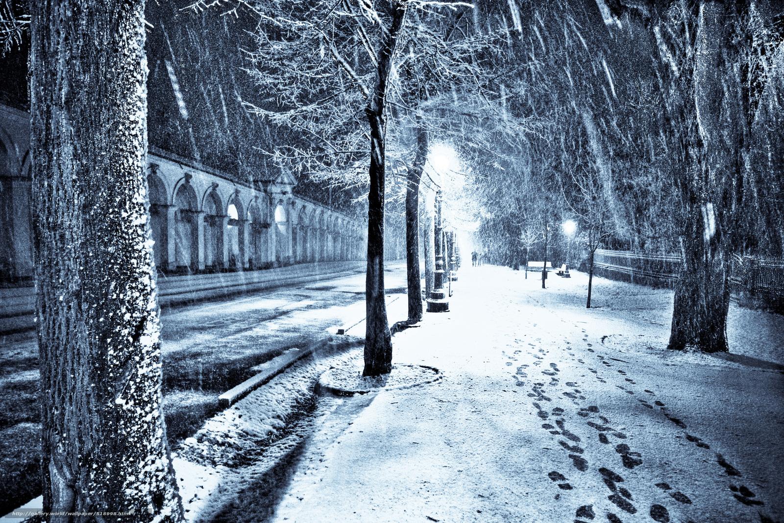 Tlcharger Fond d'ecran lumires,  neige,  aleykii,  rue Fonds d'ecran gratuits pour votre rsolution du bureau 3776x2520 — image №518998