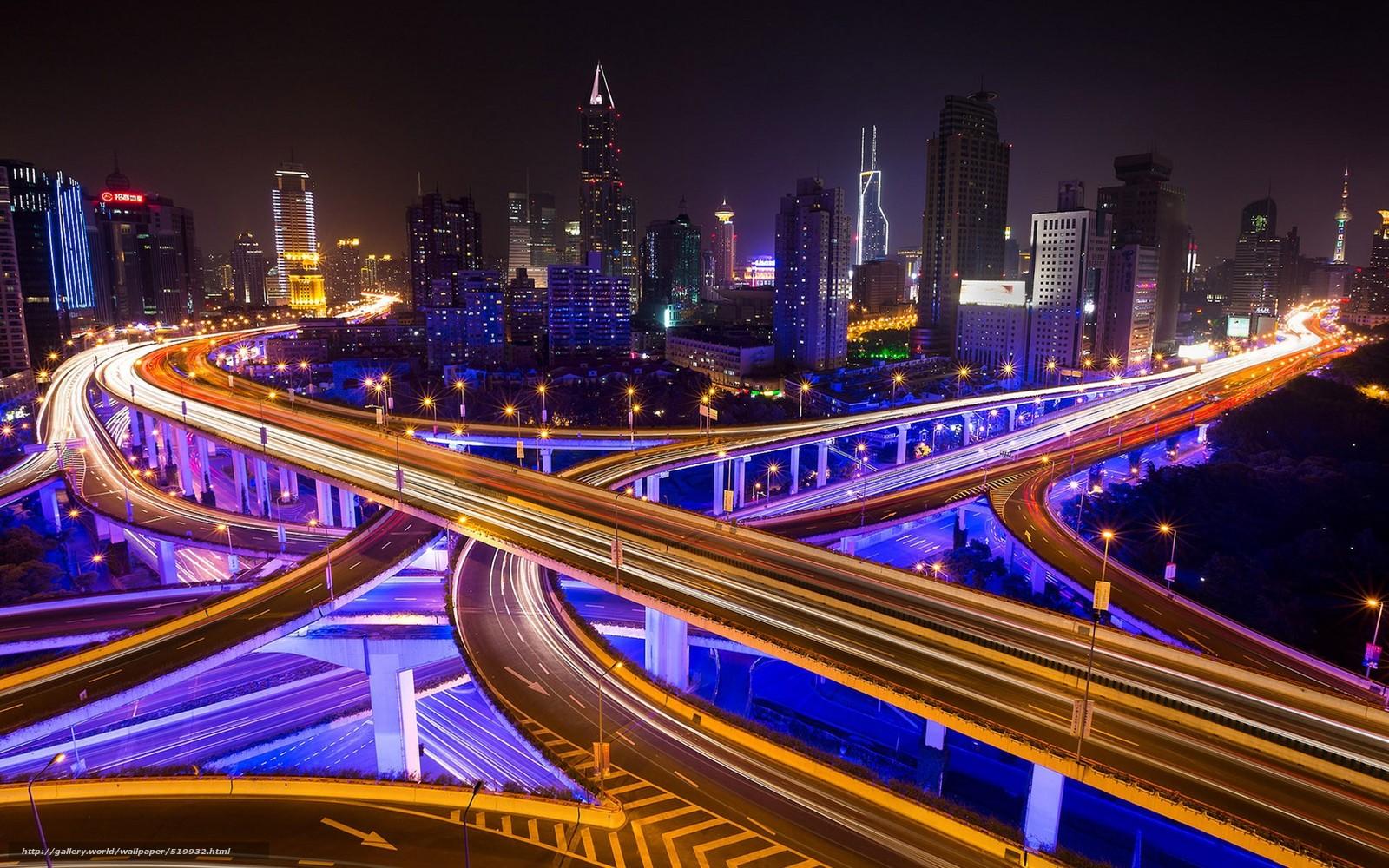Download wallpaper city,  highway,  night free desktop wallpaper in the resolution 1920x1200 — picture №519932