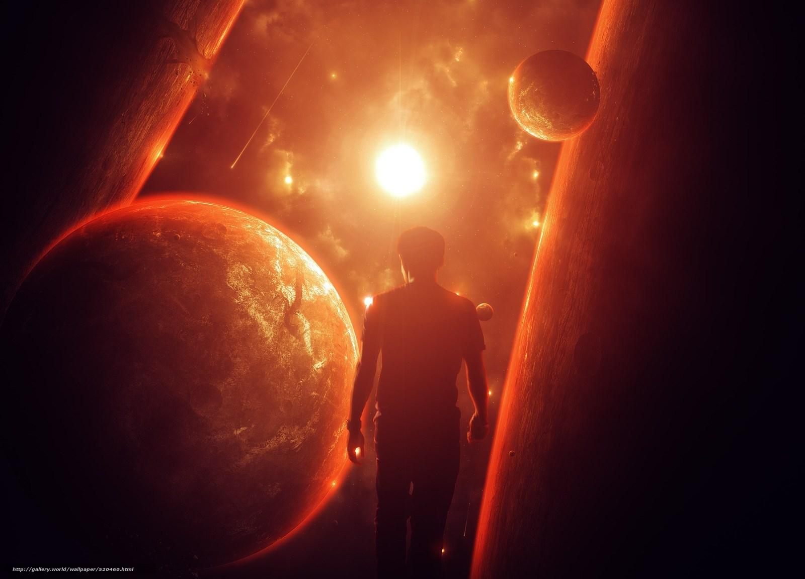 Скачать обои мужчина,  солнце,  планеты,  космос бесплатно для рабочего стола в разрешении 2500x1799 — картинка №520460