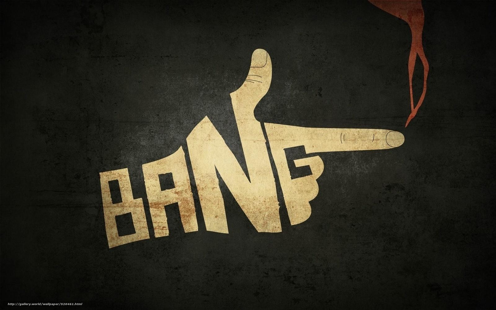 Скачать обои bang,  рука,  дым,   бесплатно для рабочего стола в разрешении 1920x1200 — картинка №520461