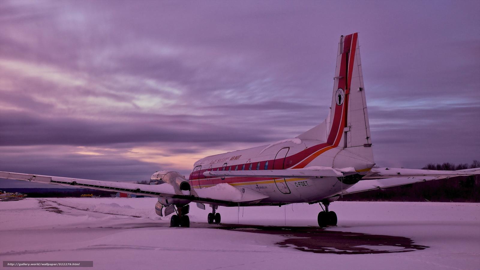 Скачать обои самолёт,  аэродром,  закат бесплатно для рабочего стола в разрешении 2048x1152 — картинка №522279