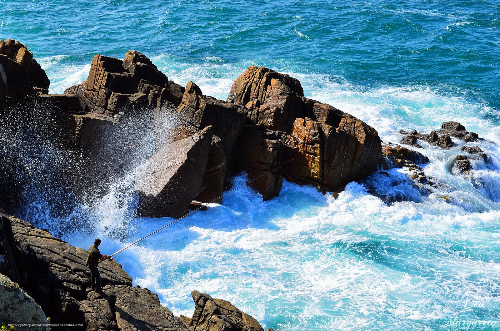 Download wallpaper sea,  rocks,  waves,  fisherman free desktop wallpaper in the resolution 2000x1325 — picture №525063