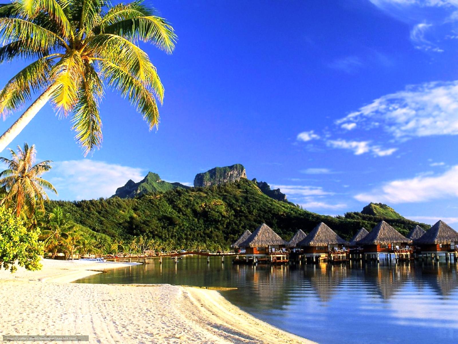 scaricare gli sfondi Bora Bora,  tropici,  spiaggia,  bungalow Sfondi gratis per la risoluzione del desktop 1920x1440 — immagine №528269