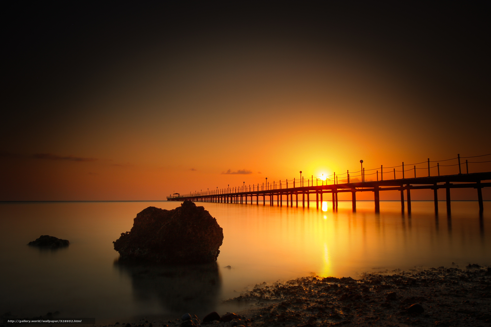 Download wallpaper wharf,  stone,  sea,  sunset free desktop wallpaper in the resolution 5009x3340 — picture №528952