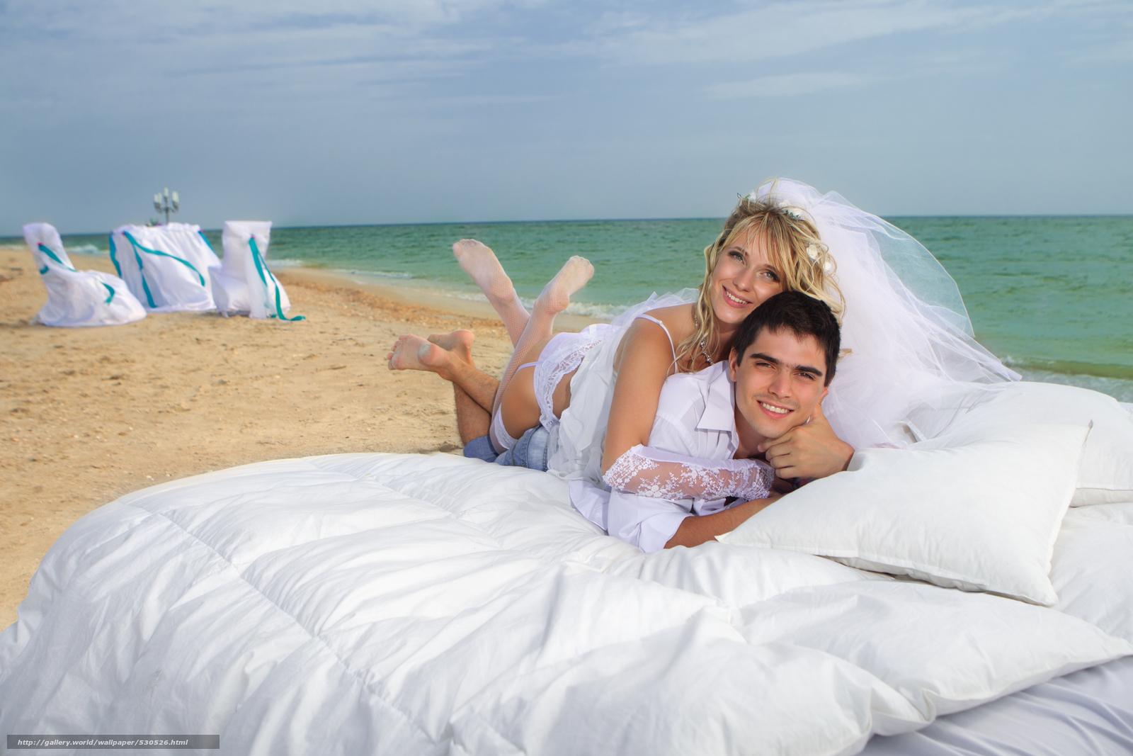 Скачать обои невеста,  море,  пара,  жених бесплатно для рабочего стола в разрешении 4728x3152 — картинка №530526