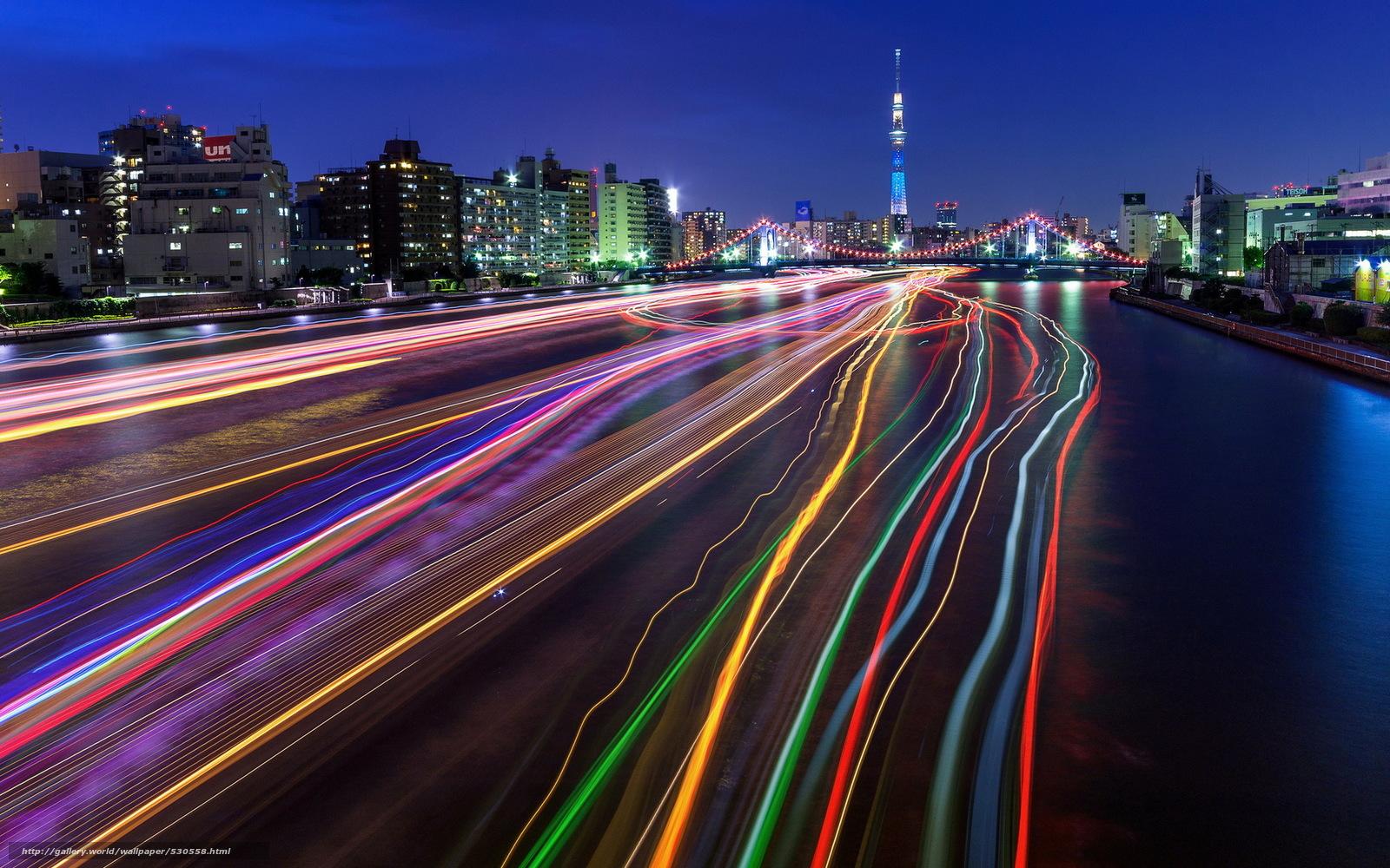 壁紙をダウンロード 東京スカイツリー 光の道 都市 長時間暴露 デスクトップの解像度のための無料壁紙 19x10 絵