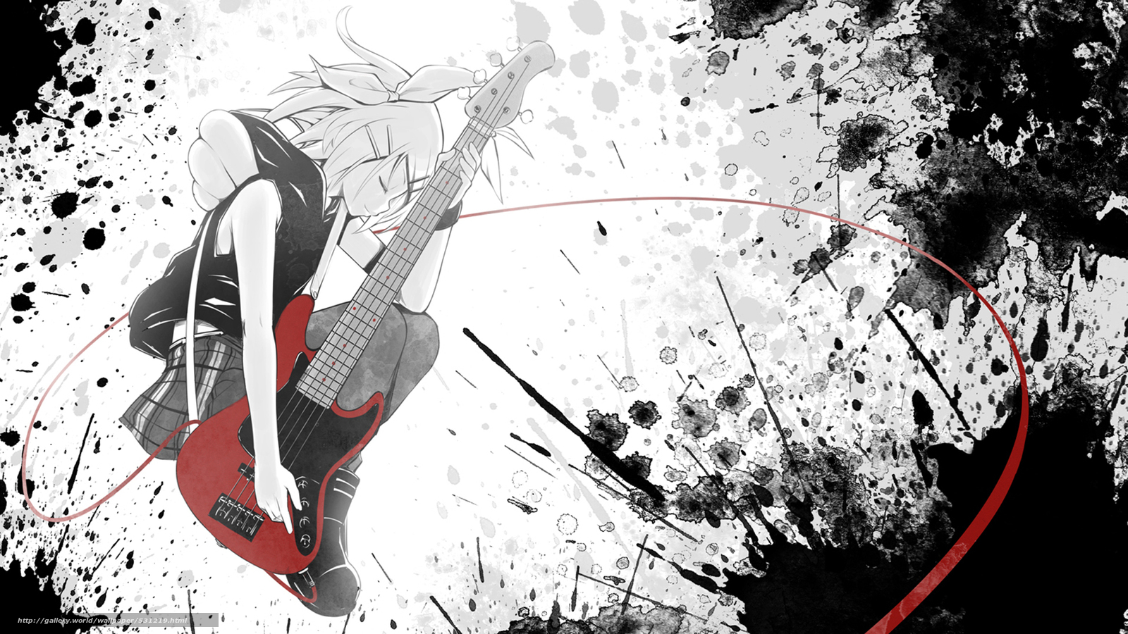 Download wallpaper girl,  guitar,  anime free desktop wallpaper in the resolution 1920x1080 — picture №531219
