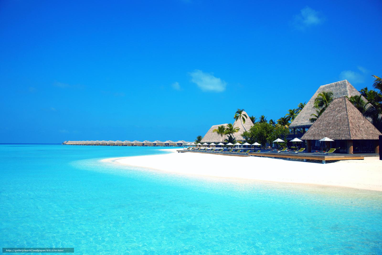 Scaricare Gli Sfondi Maldive Tropici Spiaggia Bungalow Sfondi