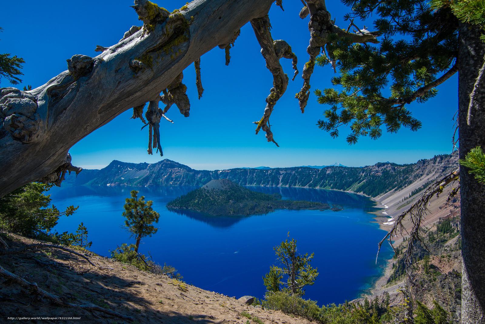Скачать обои crater lake,  crater lake national park,  oregon,  Озеро Крейтер бесплатно для рабочего стола в разрешении 2048x1367 — картинка №532100