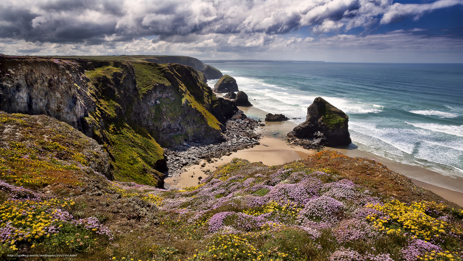 Download Hintergrund Bedruthan Schritte Cornwall England HD Wallpapers Download Free Images Wallpaper [1000image.com]