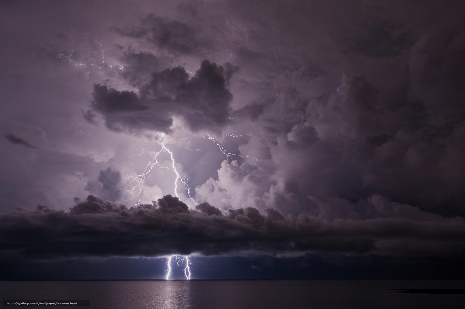 Download wallpaper sea,  storm,  Lightning free desktop wallpaper in the resolution 2048x1365 — picture №533886