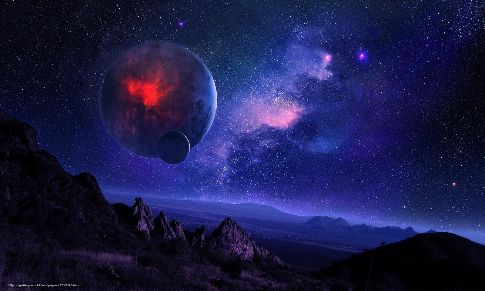Scaricare Gli Sfondi Spazio Notte Cielo Stellato Montagne Sfondi