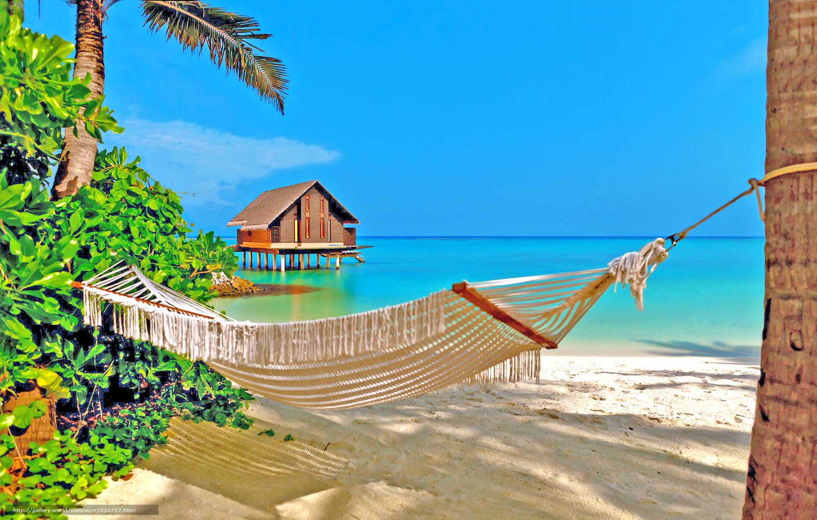 Descargar gratis paisaje playa mar hamaca fondos de - Hamacas de playa ...