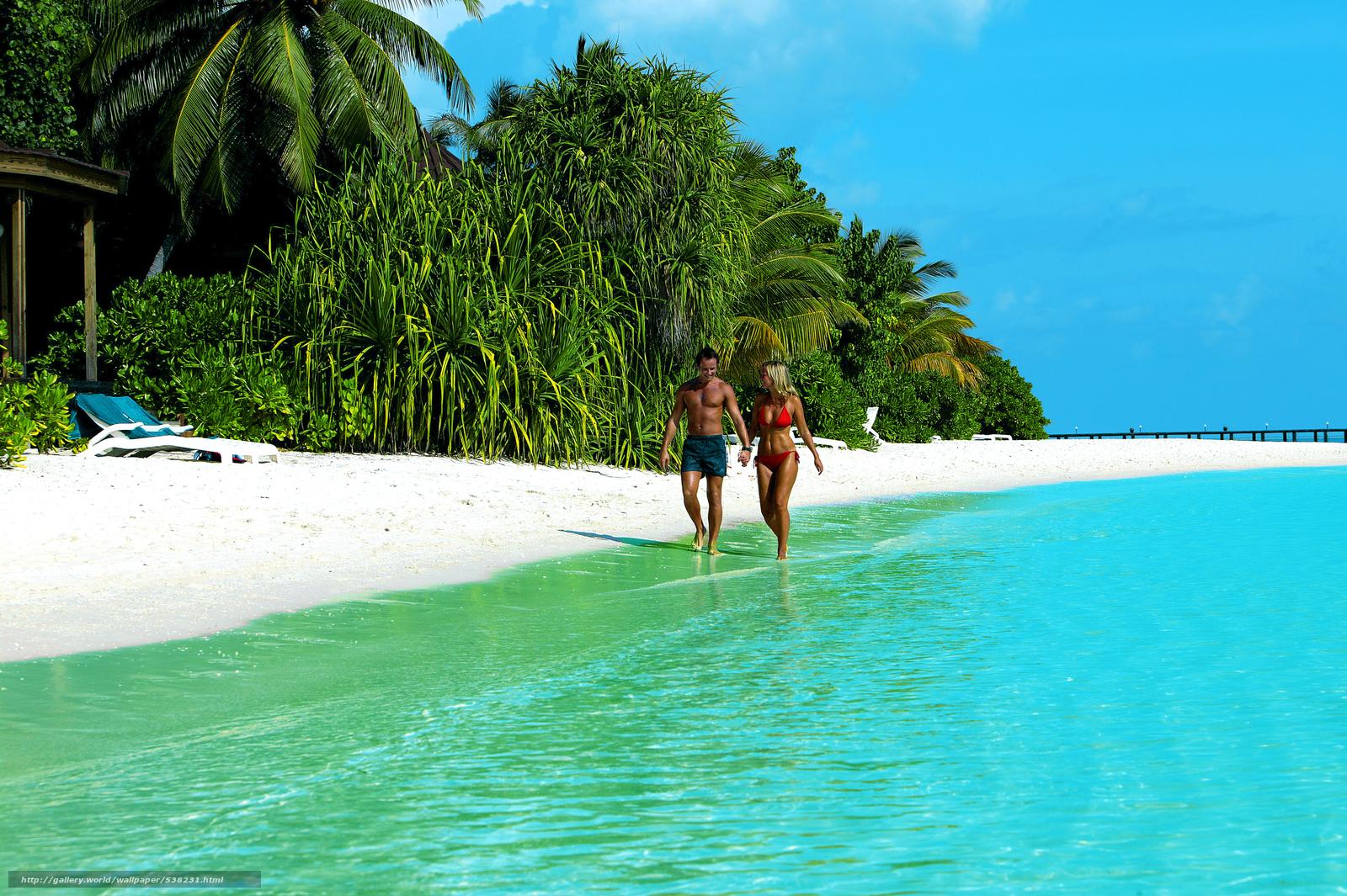 下载壁纸 热带,  马尔代夫,  海,  海滩 免费为您的桌面分辨率的壁纸 3900x2595 — 图片 №538231