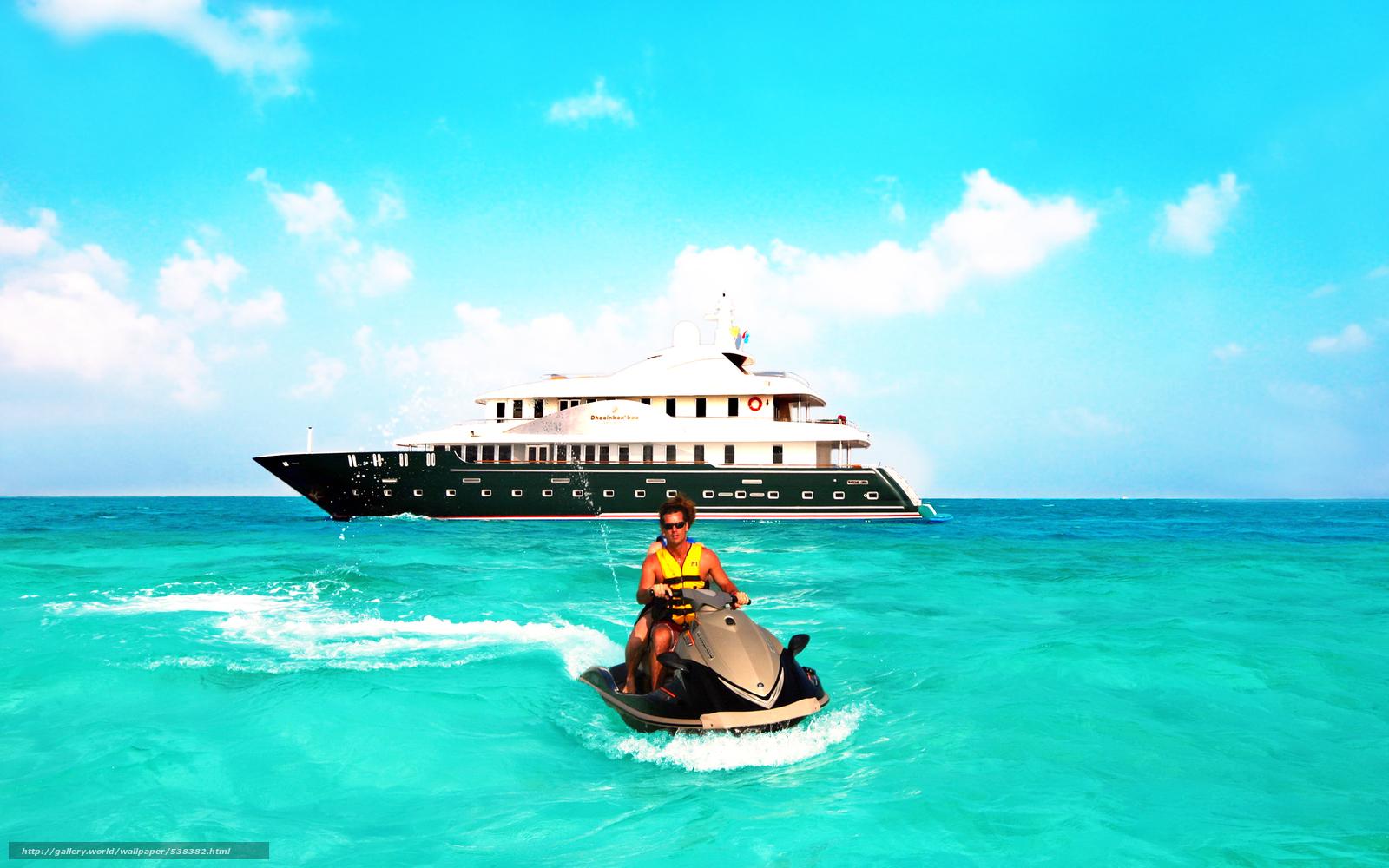 scaricare gli sfondi tropici,  Maldive,  mare,  yacht Sfondi gratis per la risoluzione del desktop 2560x1600 — immagine №538382