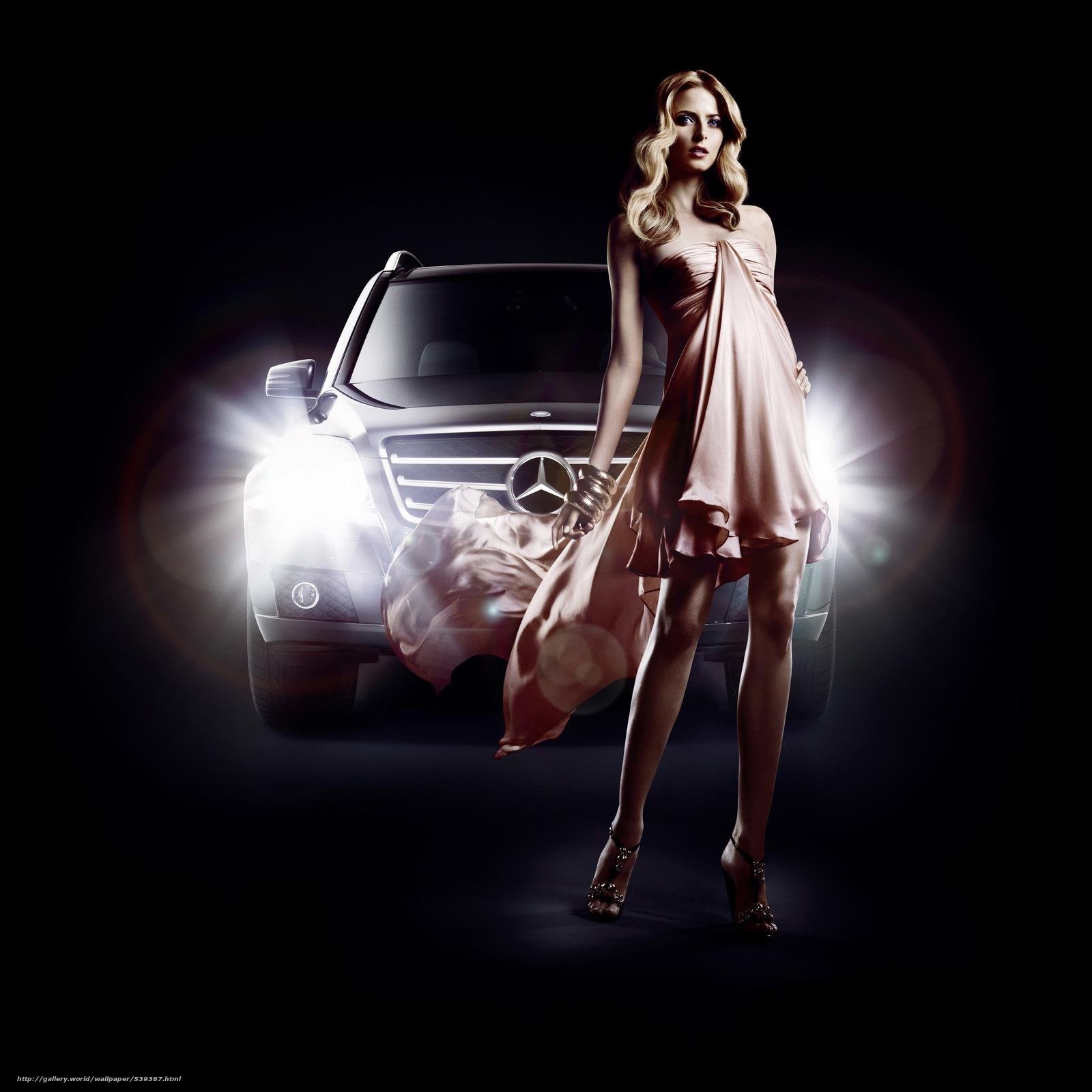 Download wallpaper Eva Padberg,  Mercedes-Benz,  GLK,  fashion free desktop wallpaper in the resolution 3000x3000 — picture №539387