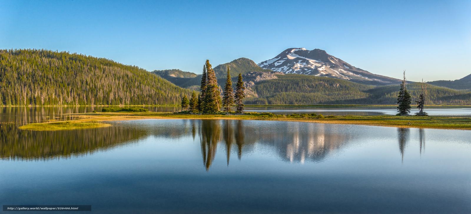Скачать обои Sunrise,  South Sister,  Sparks lake,  Oregon бесплатно для рабочего стола в разрешении 2048x931 — картинка №539496
