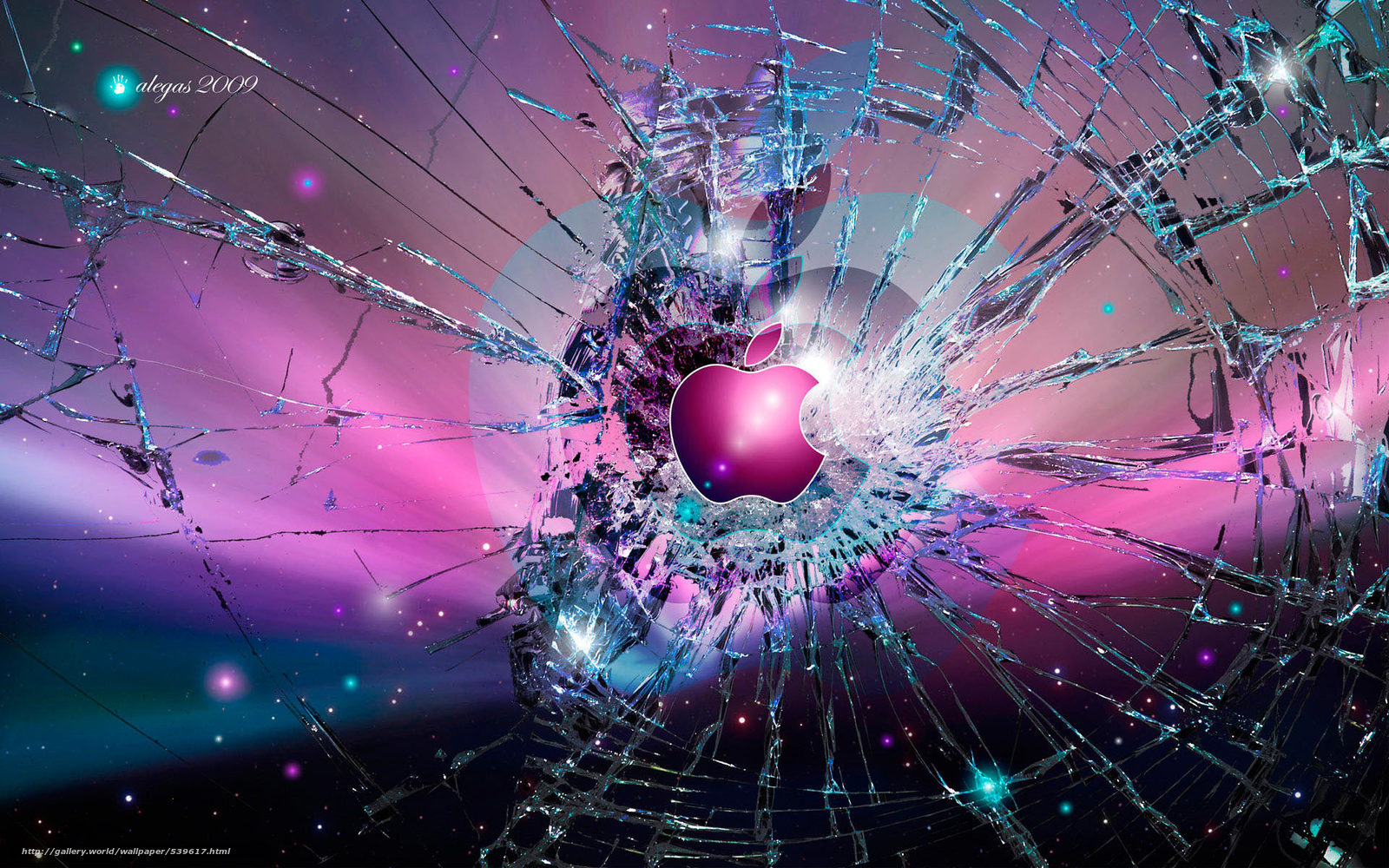 Скачать обои apple,  стекло,  логотип,  трещины бесплатно для рабочего стола в разрешении 1920x1200 — картинка №539617