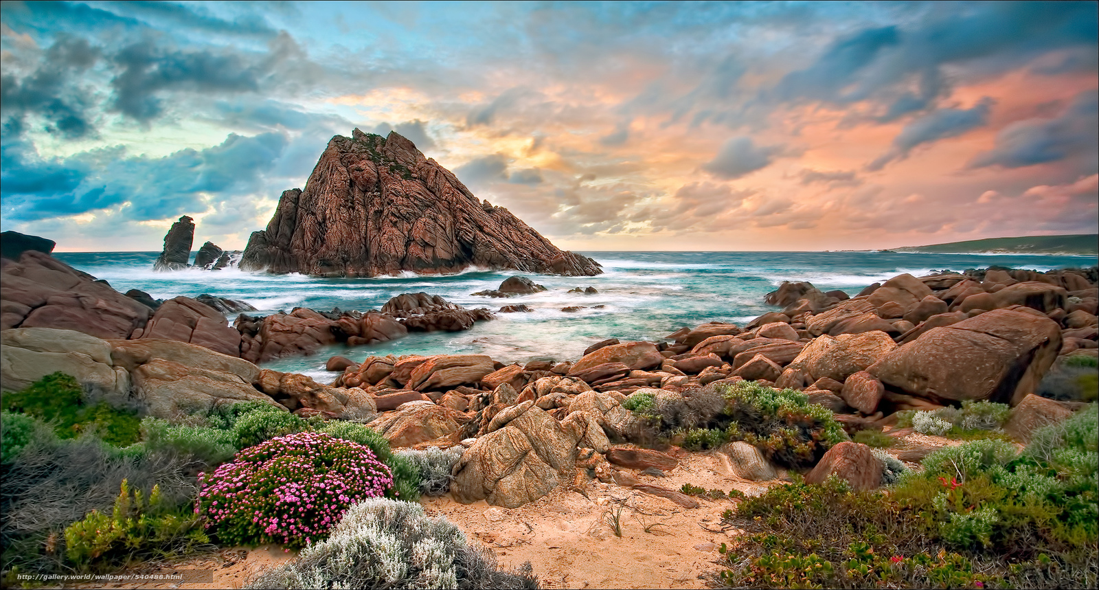 Скачать обои Австралия,  западная,  пляж,  камни бесплатно для рабочего стола в разрешении 2048x1099 — картинка №540488