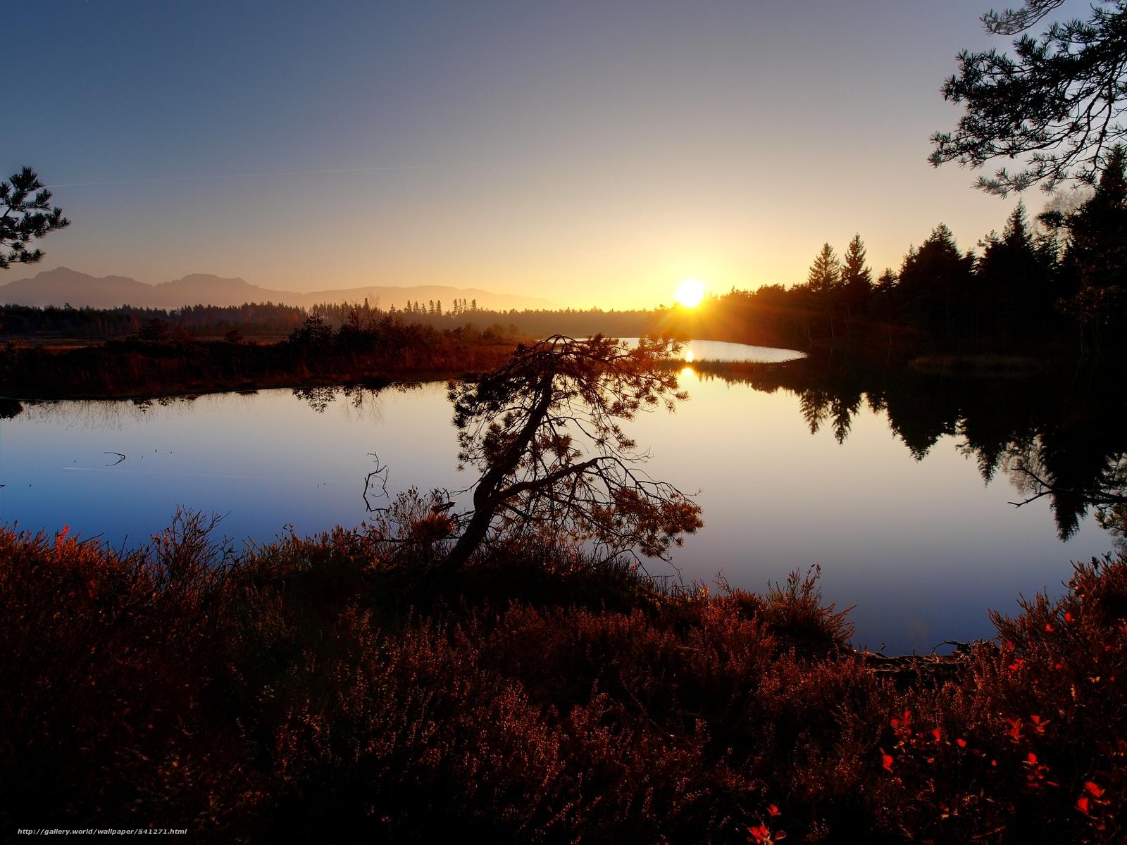 Скачать обои закат,  озеро,  деревья,  пейзаж бесплатно для рабочего стола в разрешении 3628x2721 — картинка №541271
