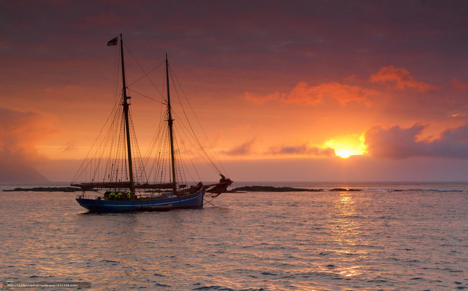 Скачать обои Рассветы и закаты,  Яхта,  Парусные,  Небо бесплатно для рабочего стола в разрешении 2048x1271 — картинка №541358