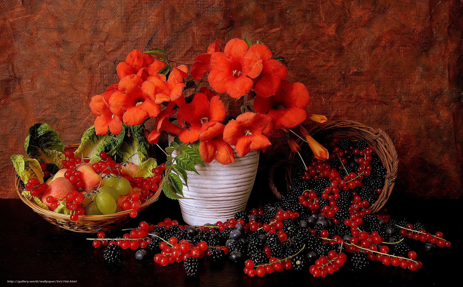 Download wallpaper vase,  Flowers,  fruit,  BERRY free desktop wallpaper in the resolution 2048x1270 — picture №541700