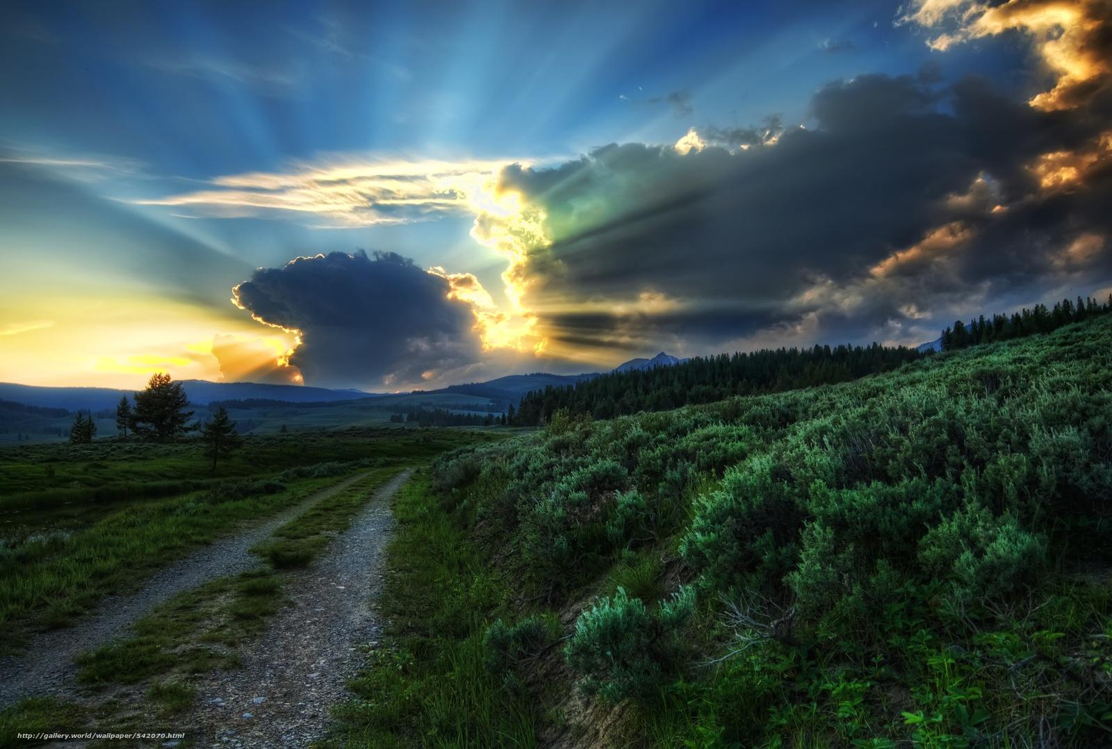 scaricare gli sfondi The Dirt Road to the Blast sito nucleare,  selvatico,  tramonto,  Yellowstone Sfondi gratis per la risoluzione del desktop 4132x2784 — immagine №542070